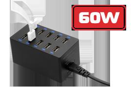 FTB 10U12A — универсальное зарядное устройство, 10 USB портов, Smart IC.